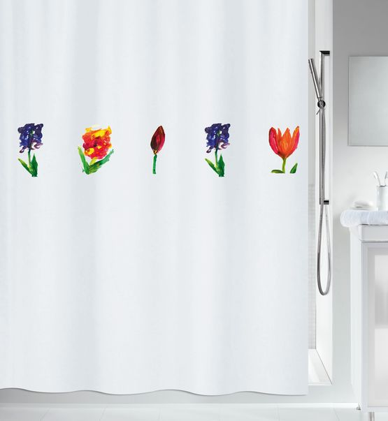 exclusiv design for showercurtain with handdrawn flowers in acrylic for Spirella