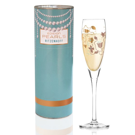 design for a prosecco glass with playful flowers and bubbles in bronze and a touch turquoise