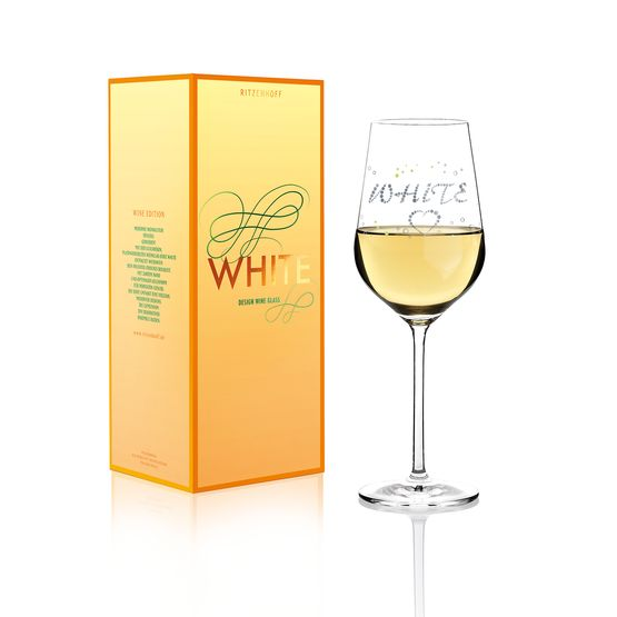 design for a white wine glass with hearts, tiny air bubbles and the lettering white